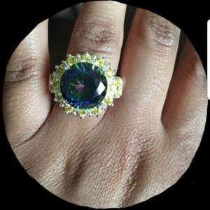 Large rainbow topaz and citrine cocktail ring